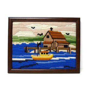 "Pier house . framed yarn needlework . 13"" x 10"""